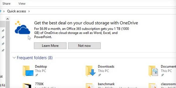 Advertentie voor Office duikt op in Verkenner Windows 10