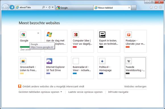 Internet Eplorer 9 (2): Meest Bezochte Websites