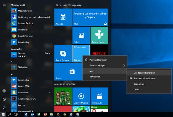 Zet het Windows 10-startmenu naar eigen hand