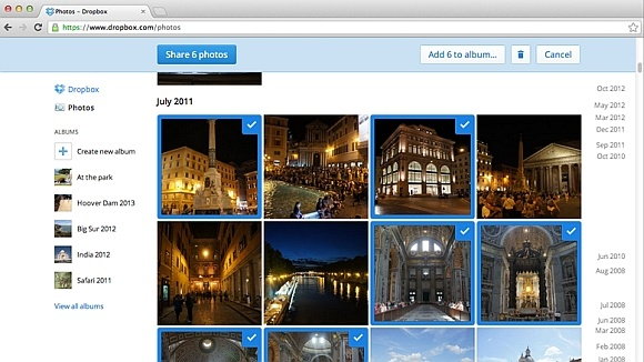 Documentenpreviews en fotoalbums bij Dropbox