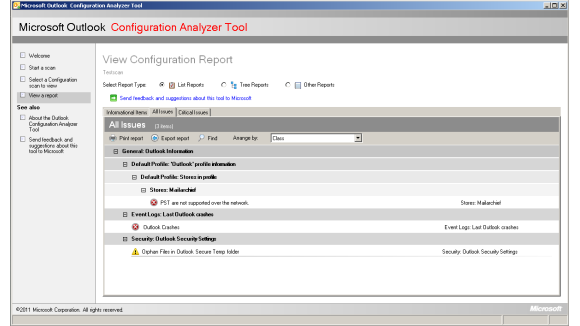 Microsoft Outlook Configuration Analyzer Tool