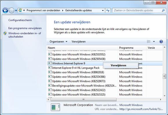Internet Explorer 9  (10): Browser verwijderen
