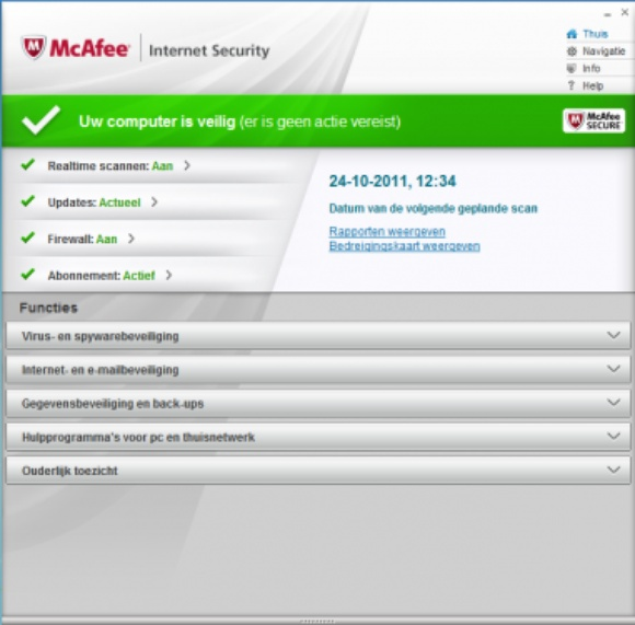 McAfee Internet Security 2012.